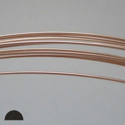 20 gauge Half Hard Half Round 14k Rose Gold Filled Wire - 1 Metre