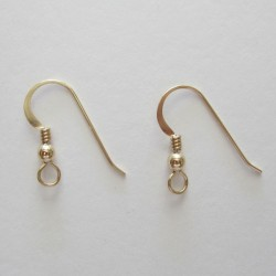 14/20K Gold Filled Ear Wire with Bead and Coil - 5 Pairs