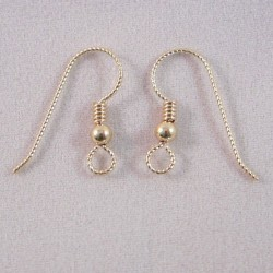 14/20K Gold Filled Slipless Ear Wire with Bead and Coil - 5 Pairs