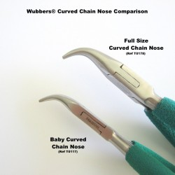 Wubbers® Curved Chain Nose Pliers -  17cm Tip Comparison