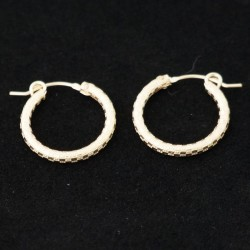 19mm Checkered Tube Hoop Gold Filled Earring