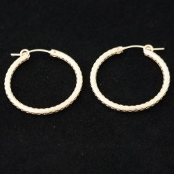 28mm Checkered Tube Hoop Gold Filled Earring