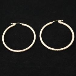 42mm Checkered Tube Hoop Gold Filled Earring