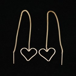 16mm Heart Ear Threads Gold Filled Earrings