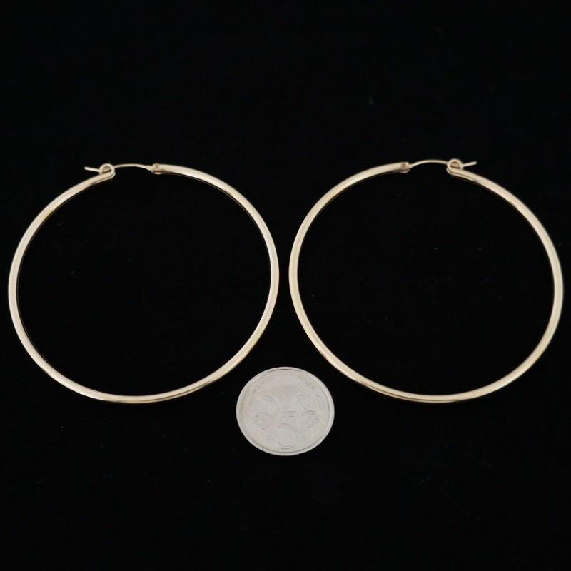 58mm Smooth Tube Hoop Gold Filled Earring Inspire With Wire
