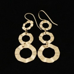 3 Ring Patterned Dangle Gold Filled Earring