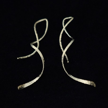 5cm Patterned Flat Ribbon Gold Filled Earring