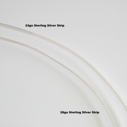24 gauge Strip Sterling Silver - 1 Metre Compare 28ga Side View