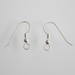 Sterling Silver Slipless Ear Wire with Bead and Coil - 5 Pairs