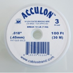 Acculon 0.45mm 3 Strand Beading Wire - Antique Gold 30m