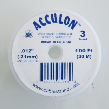 Acculon 0.31mm 3 Strand Beading Wire - Antique Gold 30m