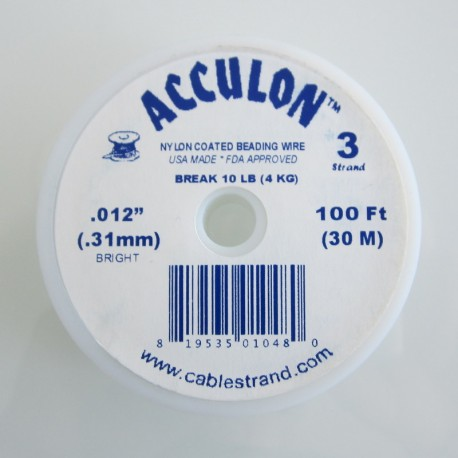 Acculon 0.31mm 3 Strand Beading Wire - Clear 30m