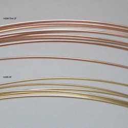 12 gauge Dead Soft Round 14k Rose Gold Filled Wire - 50cms Colour comparison