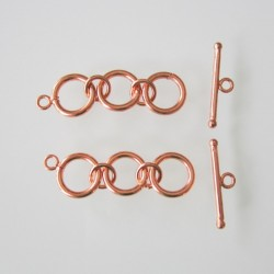 Copper 3 Ring Toggle Clasp 40x13mm