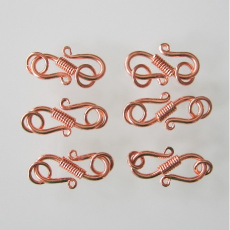 Copper S-Hook with Rope Design 19x12mm - Pack of 6