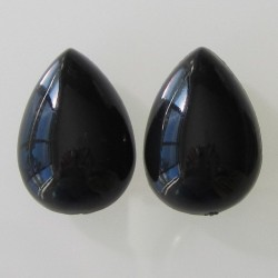 Acrylic Black Teardrop - 25x18mm Pack of 2
