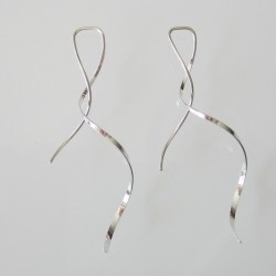 5cm Smooth Flat Ribbon Sterling Silver Earring