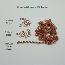 10 Jump Rings, 5 Hook Clasps and 1m of Oval Cable all in Natural Copper