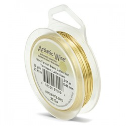 Artistic Wire 26ga Round Brass with Anti Tarnish Coating - 27 Metres