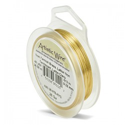 Artistic Wire 28ga Round Brass with Anti Tarnish Coating - 36 Metres