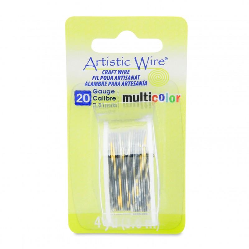 Artistic Wire 20ga Round Multi Coloured Copper Wire Silver Gold and Black - 3.6 Metres