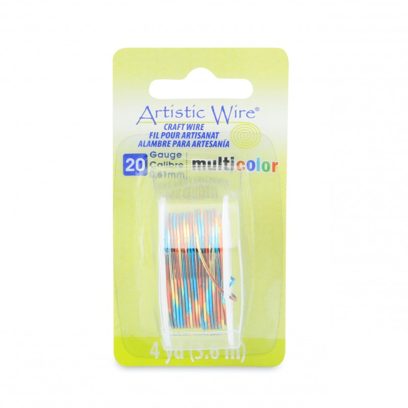 Artistic Wire 20ga Round Multi Coloured Copper Wire Blue Red and Gold - 3.6 Metres