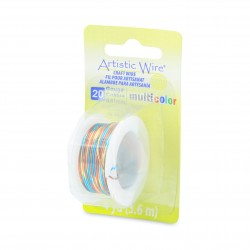Artistic Wire 20ga Round Multi Coloured Copper Wire Blue Red and Gold - 3.6 Metres Left View