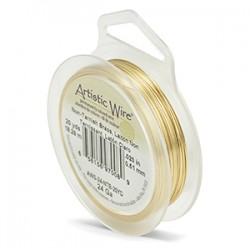 Artistic Wire 24ga Round Brass with Anti Tarnish Coating - 18 Metres
