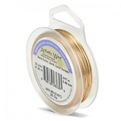 Artistic Wire 24ga Round Gold Coloured Silver Plated Copper Wire - 13 Metres