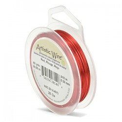 Artistic Wire 28ga Round Red Coloured Copper Wire - 36 Metres