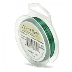 Artistic Wire 28ga Round Kelly Green Coloured Copper Wire - 36 Metres