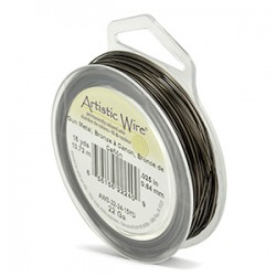 Artistic Wire 22ga Round Antique Brass with Anti Tarnish Coating - 13 Metres