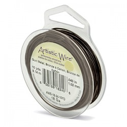 Artistic Wire 18ga Round Antique Brass with Anti Tarnish Coating - 9 Metres