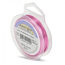 Artistic Wire 22ga Round Rose Coloured Silver Plated Copper Wire - 9 Metres