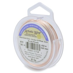 Artistic Wire 20ga Round Rose Gold Coloured Silver Plated Copper Wire - 7 Metres