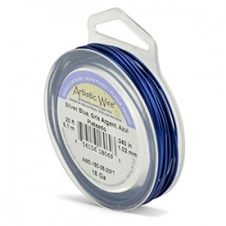 Artistic Wire 18ga Round Silver Blue Coloured Silver Plated Copper Wire - 6 Metres