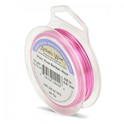 Artistic Wire 24ga Round Rose Coloured Silver Plated Copper Wire - 13 Metres