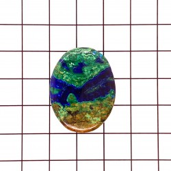Azurite Malachite Oval Cabochon - 31x24x6mm Sold Individually