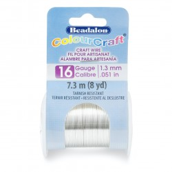 ColourCraft 16 Gauge Round Silver Plated Copper Wire - 7 Metres