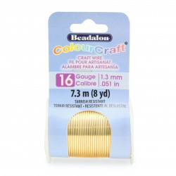 ColourCraft 16 Gauge Round Silver Plated Gold Coloured Copper Wire - 7 Metres