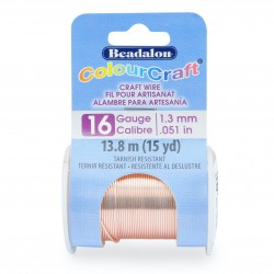 ColourCraft 16 Gauge Round Silver Plated Rose Gold Coloured Copper Wire - 7 Metres