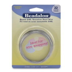 22 Gauge Stainless Steel 3/4 Hard Round Wire - 10 Metres