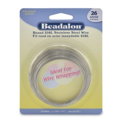 26 Gauge Stainless Steel 3/4 Hard Round Wire - 20 Metres