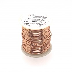 ParaWire 18ga Square Rose Gold Silver Plated Copper Wire - 36 Metres