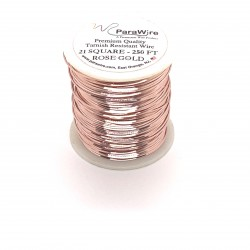 ParaWire 21ga Square Rose Gold Silver Plated Copper Wire - 76 Metres