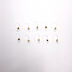 Acrylic Ear Wire Clear with Gold 3mm Ball - 5 Pairs