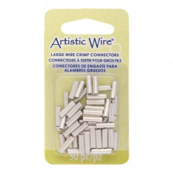 Artistic Wire Large Crimp Connector 12ga Tarnish Resistant Silver Plated - Pack of 50