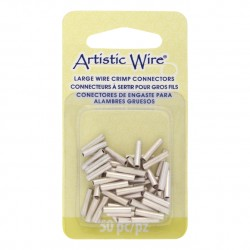 Artistic Wire Large Crimp Connector 16ga Tarnish Resistant Silver Plated - Pack of 50