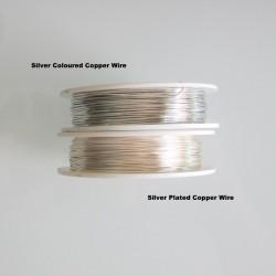 24 Gauge Round Silver Plated Copper Wire - 60m Compare Silver Colours