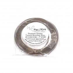ParaWire 21ga Half Round Vintage Bronze Copper Wire with Anti Tarnish Coating - 6.4 Metres